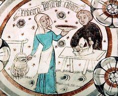 Bild: 9221116 (9221116.jpg). Motiv: Jakob och Rebecka. Foto: Lennart Karlsson Jakob och Rebecka. Motiv från målning från Risinge i Östergötland.  Datering 1400-talets första fjärdedel. (This color of blue!)