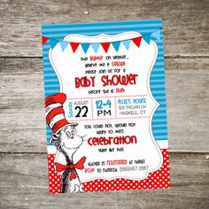 Cat in the Hat Baby Shower Invitation Dr. Seuss Baby Shower Invitation https://www.etsy.com/shop/SabraTurnerDesigns