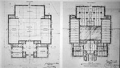 Joseph Maria Olbrich, Vienna Secession Building, 1898. Plantas: Piso térreo (esq.) e Piso -1 (dir.)