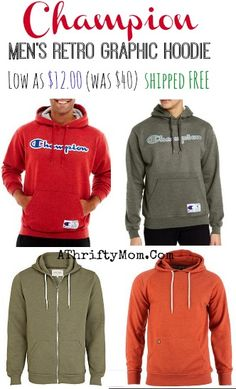 Champion Mens Hoodies HUGE mark down, low as $12 each, was $40 plus FREE shipping options.  These would be great for Teen Boys gifts #Hoodie...