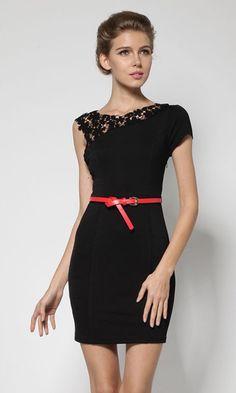 Black Patchwork Hollow-out Lace Shoulder Wrap Cotton Dress
