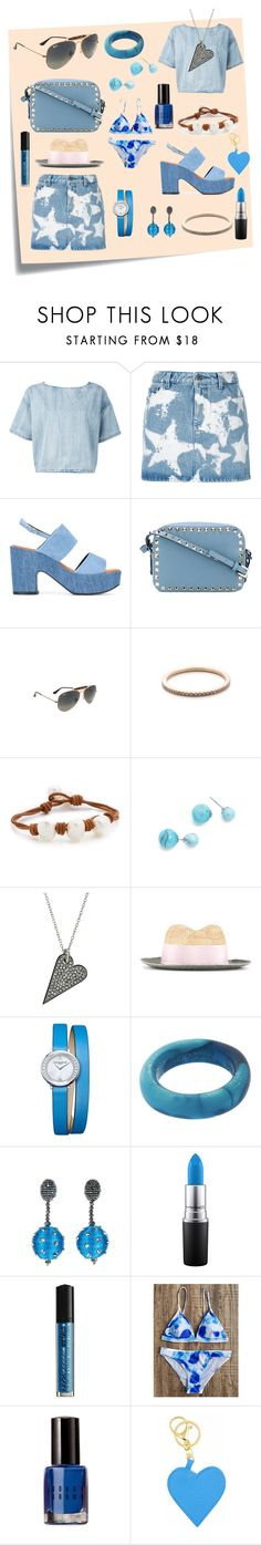 """""""Denim style..."""" by jamuna-kaalla ❤ liked on Polyvore featuring Post-It, Diesel, Givenchy, Robert Clergerie, Valentino, Ray-Ban, Gabriela Artigas, Lead, Amber Sceats and Rebecca Minkoff"""