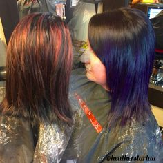 Black to violet balayage ombre on short hair