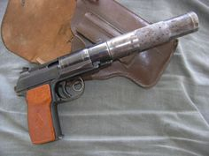 Soviet Makarov PB, an Integrally Suppressed Makarov Pistol, presumably chambered in 9x18mm Makarov.