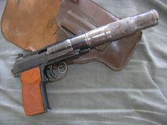 Soviet Makarov PB, an Integrally Suppressed Makarov Pistol, presumably chambered in 9x18mm Makarov.