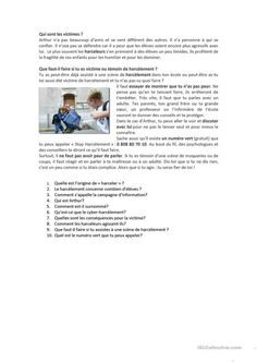 Le harcelement à l'école - Français Fle Fiches Pedagogiques French Teaching Resources, Teaching French, Expressions, Learn French, Reading Comprehension, The Beatles, Book Lovers, Texts, Communication