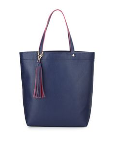 V2HTK Neiman Marcus Pebbled Faux-Leather Tassel Tote Bag, Navy/Fuchsia