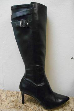 Calvin Klein Womens Randin Leather Mid Heel Boots #CalvinKlein #FashionKneeHigh