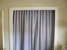 The Chipper Snipper: Making Space - Closet Curtains (hung from nails, instead of closet rod)
