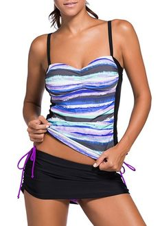 Printed Tankini Top and Adjustable Tie Side Skirted Swim Bottom