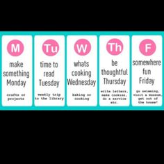 Summer Schedule for Kiddos.. For one day when I am home with my babies in the summer! :)