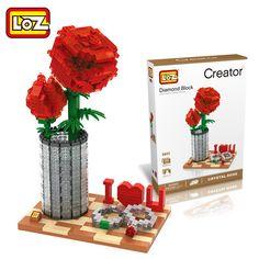 Good Lego Red Rose Flowers I Heart U Building Blocks