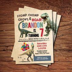 Dinosaur birthday invitation. Boy kids birthday invite. Rustic retro dinosaurs. Dino-mite printable digital invite. KB141 by CrazyLime on Etsy https://www.etsy.com/listing/238600035/dinosaur-birthday-invitation-boy-kids