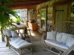 porch...I love the willow furniture!
