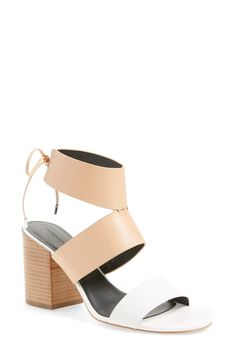 325d7517750 The combination of tan + white works perfectly on this ankle cuff sandal  from Rebecca Minkoff