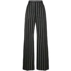Balenciaga Balenciaga Striped Wide-Leg Trousers ($550) ❤ liked on Polyvore featuring pants, trousers, bottoms, calças, balenciaga, black, balenciaga pants, cotton pants, wide leg pants and striped pants
