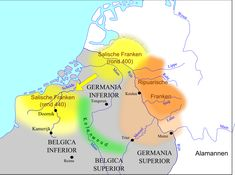 Movement of the Salian Franks from the insula batavorum (Betuwe), where they lived c. 358 to the region around Tournai and the river Somme, where they were c. European Map, European History, Gaule Romaine, Middle Ages History, Netherlands Map, Empire Romain, France Map, Reims, Historical Art