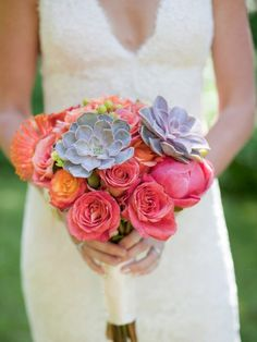 bright peach and suculant bouquet