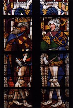 GOTHIC GLASS PAINTER, German  Charlemagne and King Arthur  c. 1410  Stained glass window  Town Hall, Lüneburg