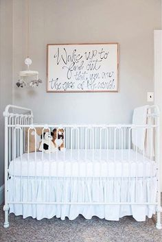 Simplicity is key! This simple bright white nursery is beautiful in every way. Featuring brat decor's iron joy crib in white, the abby room is great for either gender and is truly flawless. #brattdecor