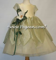 "Yellow and green silk ""frog princess"" flower girl dress by Pegeen.com"