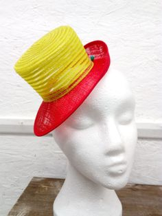 Sample Sale - Sinamay and Crinoline mini hat in red and Lime -Millinery supplies Millinery Supplies, Ribbon Crafts, Haberdashery, Grosgrain Ribbon, Hot Pink, Lime, Crochet Hats, Top Hats, Trending Outfits