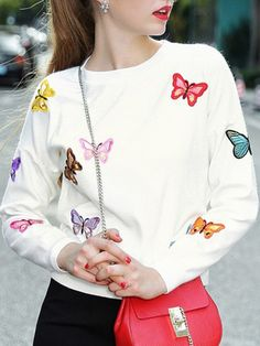 Shop White Butterfly Applique Pouf Sweater online. SheIn offers White Butterfly Applique Pouf Sweater & more to fit your fashionable needs.