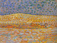 Piet Mondrian (1872–1944) -Pointillist Dune Study, Crest at Left, 1909 28 x 38.1 cm
