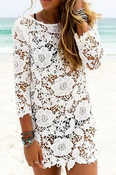 3/4 Sleeve Crochet Flower Lace Cover-Up