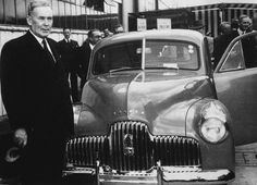 A New Beginning for Australian Motor Industry. Prime minister Ben Chifley at the launch of the first Holden car at the Fishermens Bend plant in Australia, 1948 (National Archives of Australia: v Vintage Cars, Vintage Photos, Holden Australia, Australian Cars, Australian Politics, Upcoming Cars, Terra Australis, Automobile Industry, Ford Falcon