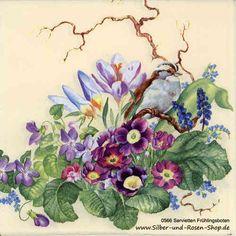 Ein  echtes Aquarell diente als Vorlage für diese Frühlings-Servietten. Papierservietten Frühlingsboten 33 x 33 cm