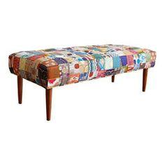 Mid-Century Inspired Patchwork Bench - Chairish
