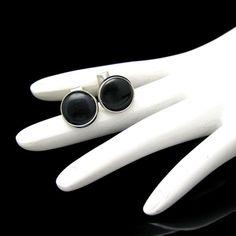 New in the #MyClassicJewelry @Etsy Shop! http://ift.tt/1rEdsaZ Art Deco Style Vintage Mens Cuff Links Mid Century Black Faux Onyx Silvertone Classic by MyClassicJewelry #GotVintage