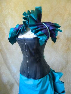 Mad Hatter pinstripe steampunk detachable strap corset, ready to ship-to fit natural 36-38 inch waist. $169.00, via Etsy.