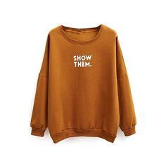 Do you think I should buy it? Printed Sweatshirts, Printed Shirts, Hooded Sweatshirts, Plain Sweatshirts, Shirt Hoodies, Brown Long Sleeve Shirt, Long Sleeve Shirts, Brown Hoodie, Cheer Shirts