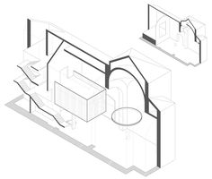 Axonometric diagram of Restoration and adaptation of a 16th century Chapel in Brihuega by Adam Bresnick