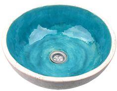 Libelula | Turquoise design wastafel | 38 x 38 x 15 cm