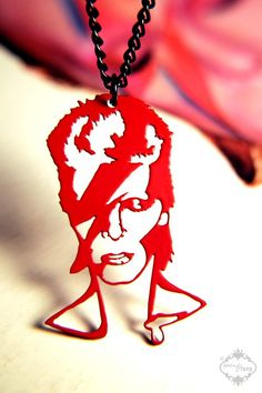 David Bowie Ziggy Stardust homage necklace in red by FableAndFury I reaaaally want this!!