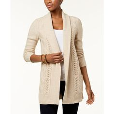 Ny Collection Petite Marled-Knit Shawl-Collar Cardigan ($45) ❤ liked on Polyvore featuring tops, cardigans, merry, petite open front cardigan, pink cable knit cardigan, shawl collar cardigans, marled open front cardigan and cable knit cardigan