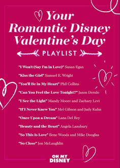 You'll love this playlist of romantic Disney songs, right in time for Valentine's Day!
