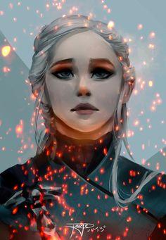 "Game of Thrones Fanart - Daenerys Targaryen ""Be a dragon"" by Paige Locker on ArtStation. Tatuagem Game Of Thrones, Arte Game Of Thrones, Game Of Thrones Artwork, Game Of Thrones Books, Game Of Thrones Gifts, Game Of Thrones Dragons, Daenerys Targaryen Art, Khaleesi, Deanerys Targaryen"