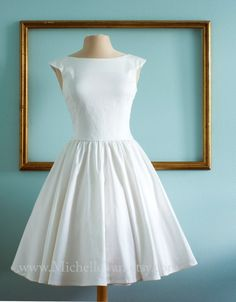 WHY CANT THIS BE IN MINT SO I CAN JUST WEAR IT AS A BRIDESMAID FOR AIMEE'S WEDDING - 1950s Inspired Wedding Dress, $250 | 36 Elegant Minimalist Wedding Dresses
