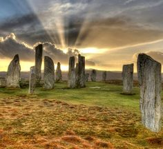 Callanish standing stones sunset. Isle of Lewis, Outer Hebrides, Scotland.