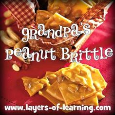 Peanut Brittle Recipe - easy and microwaved! Candy Recipes, Sweet Recipes, Holiday Recipes, Cookie Recipes, Snack Recipes, Holiday Ideas, Snacks, Peanut Brittle Recipe, Brittle Recipes