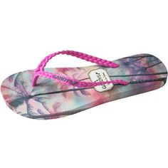 GANDYS Palm Tree Paradise Filp Flops - Pink ($31) ❤ liked on Polyvore featuring shoes, sandals, flip flops, pink, special occasion sandals, rubber shoes, flip flop sandals, rubber flip flops and special occasion shoes