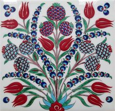 Turkish ceramic tile. Iznik? No references found.