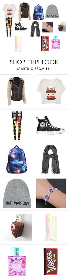 """Untitled #32"" by peanutbutter-chocolate-monster on Polyvore featuring Black Rivet, Converse, Local Heroes, Sigma Beauty, claire's, CellPowerCases, nutella, converse, emotions and plus size clothing"