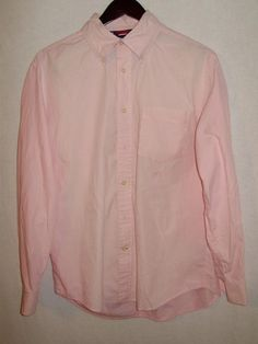 Tommy Hilfiger Mens Size M Long Sleeve Pink 100% Cotton Long Sleeve Button Down #TommyHilfiger #ButtonFront