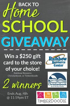 Enter the Back To Homeschool Giveaway for your change at a $250 gift card! There will be TWO winners! Ends August 4th, 2017