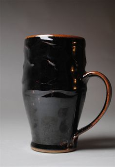 Clay Mug Beer Stein Black Temmoku T44 by JohnMcCoyPottery on Etsy, $35.00
